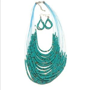 Teal Bohemian Beaded multi layered necklace set